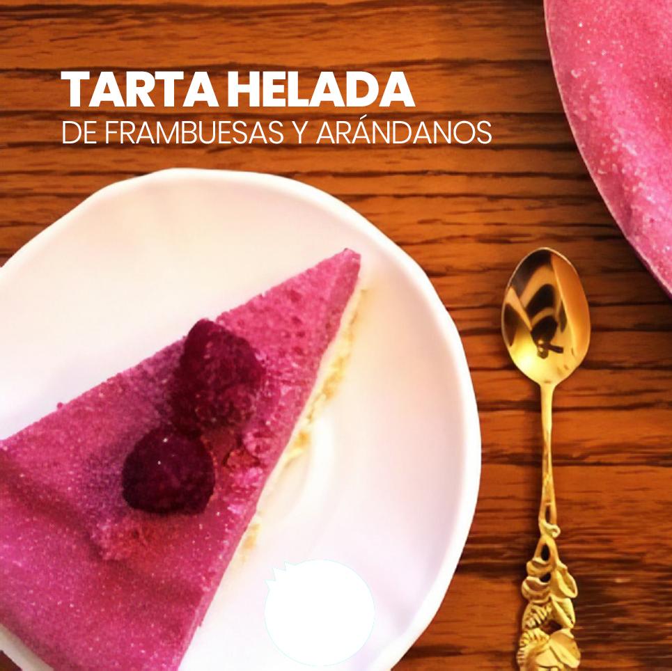 Torta helada de frambuesa y arandanos